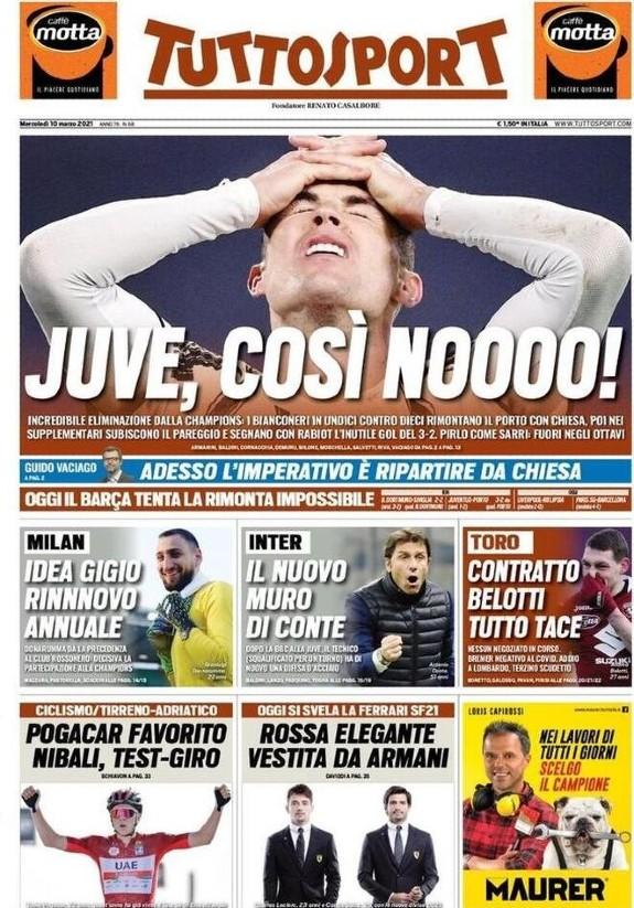 Tuttosport headline Juventus Porto Champions League