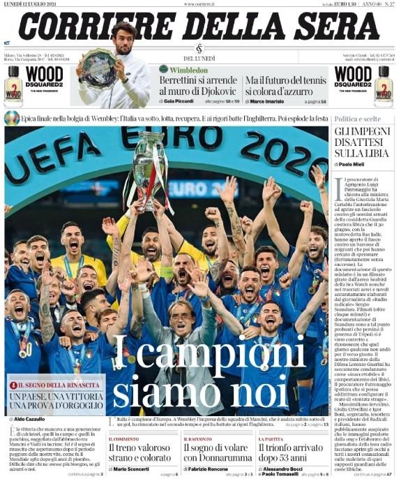 Corriere della Sera Reaction Italia England Euro Final 2021