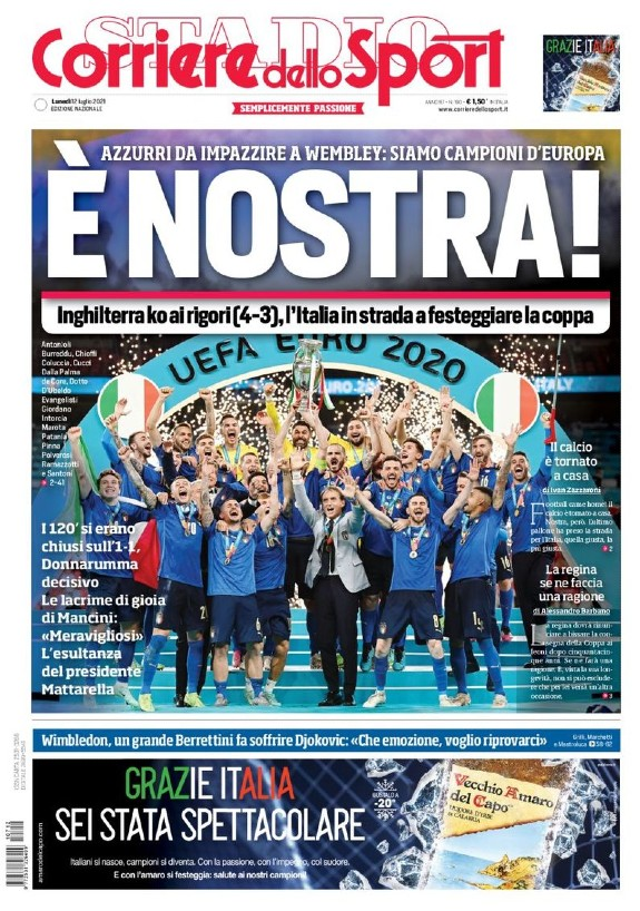 Corriere dello Sport Frontpage after Italy England Euro 2021 Final