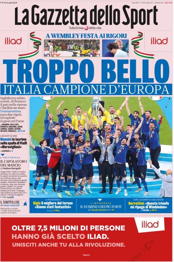 Gazzetta Dello Sport Headline after Italy Euro 2020 Win