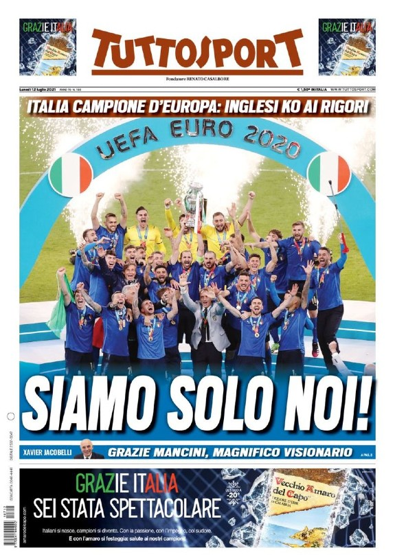 Tuttosport July 12 2021 after England Italy Final